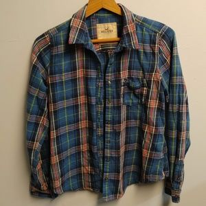 Hollister Blue & Pink Button Up Plaid Flannel